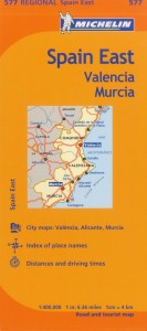 Michelin Spain Map 577 East Valencia Murcia
